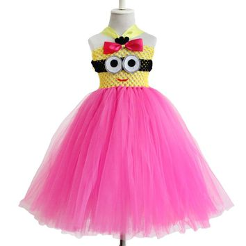 new design cosplay  Solid Color Baby infant tutu dress with a minion   in front toddler's summe dress for 0-12years