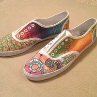 Custom Sharpie designed keds-type shoes--women's size 7