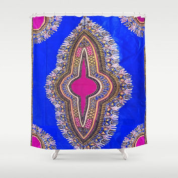 African Kinte Print Shower Curtain Royal Blue Shower Curtain Magenta Ethnic Print Shower Curtain Brown Black Yellow Royal Blue Pattern