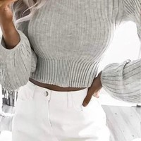 PEAPX2 Winter Stylish Slim Crop Top Sexy Sweater [31066128410]