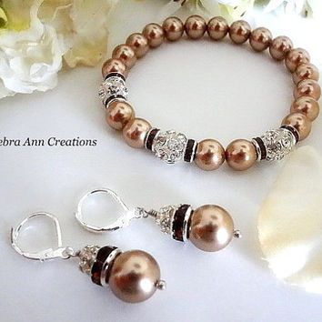 Swarovski Bronze Pearl Bracelet and Earrings Sets Fall Wedding Bronze Pearl Jewelry Champagne Mother of Bride Groom Gift Bridesmaid Bracelet