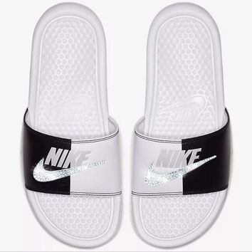 Nike Benassi Sandals / Slides + Crystals - White/Black