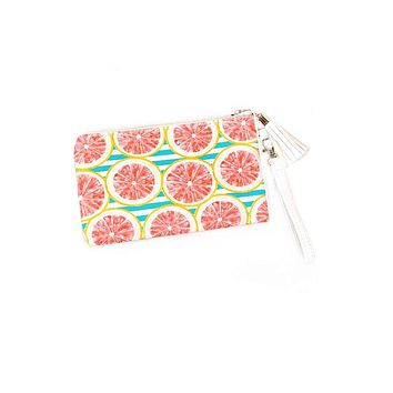 Pink Grapefruit Cabana Stripes Mini Clutch