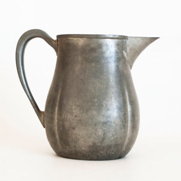 Vintage Aged Silvercraft Pewter Pitcher Flower Vase, Spotted Rustic Farmhouse Cottage or Industrial Decor
