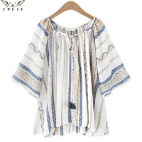 high quality Summer style Kimono blouses top Plus size XL-5XL Fluid Systems Printed Casual Women shirts blusas tops vintage body
