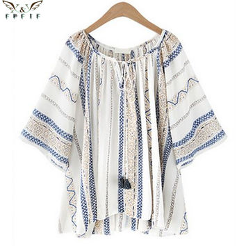 Summer style Kimono blouses top Plus size XL-5XL Fluid Systems Printed Casual Women shirts blusas tops vintage body
