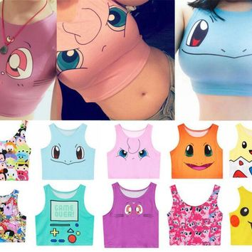 Sexy Girls Cosplay Pokemon Go Vest Tank Tops