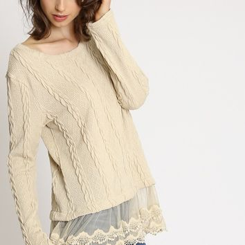 Lemon Tart Mesh Layered Sweater | Ruche