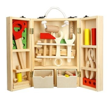 LeadingStar Kids Wooden Tool Box Set Construction Toys