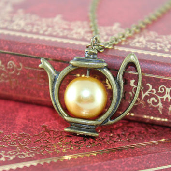 Antique Teapot with Gloden Pearl, Alices Teapot necklace