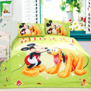green Mickey mouse Goofy character print bedding set girls kids children home decor Egyptian cotton twin full queen duvet covers