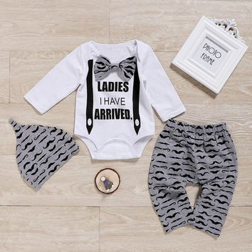 Cute Newborn Infant Baby Boys Gentleman Outfit Clothes Romper Tops+Pants+Hat 3pcs Set