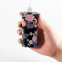 Vibrant Black Floral Portable Power Bank Charger for iPhone and Samsung