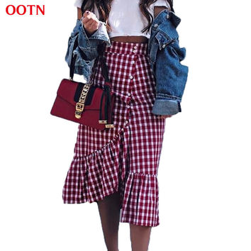 OOTN 3013 2017 summer new women red and white plaid long skirts ruffled gingham skirt loose female fashion street style