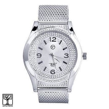 Jewelry Kay style Men's Silver Plated Iced Out CZ Fashion Metal Mesh Band Watches WM 7358 S