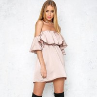 Ruffle Sexy Strapless One Piece Dress [52179632154]