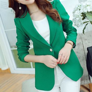 Brand Spring Autumn Slim Fit Women Formal Jackets Office Work Suits Fashion Button Coats Open Front Notched Ladies Lapel Coat