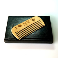 Personalized Beard Comb I Heart My Beard Wooden Hair Beard Moustache Comb Engraved Fathers Day Gift Gift for Him Husband Gift Friend Gift