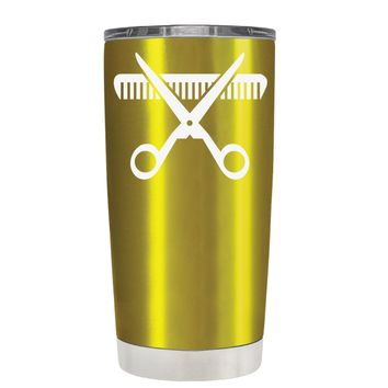 HairStylist Scissor and Comb Silhouette on Translucent Gold 20 oz Tumbler Cup