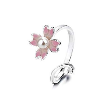 ISAACSONGDESIGN 925 Sterling Silver Flower Love Heart Cat Charm with Crystal Adjustable Stacking Ring for Women and Girls
