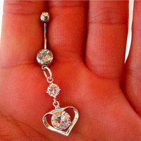 Navel Belly Button Ring Barbell Clear Crystal Heart Rhinestones