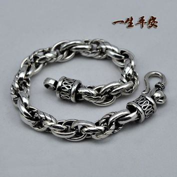 Retro Handle 925 Sterling Silver Bracelet Retro Thai Silver Ring Buckle Chain Pearl Circle Sterling
