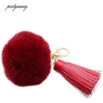 High Quality Rabbit Fur KeyChain Pompons Tassels Pendants Trinket Charm Ball for Bag Car Key Ring Chaveiro Key Chain 2017 YS008