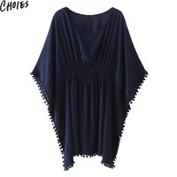 Women Navy White Pom Pom Oversize Semi Sheer Poncho Beach Cover Up Loose Blouse 2016 Summer Fashion Sexy Casual Tops Clothing