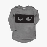 Beau Loves Eyes Raglan Long Sleeve Fin T Shirt in Vintage Washed Grey