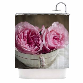 """Cristina Mitchell """"Roses In A Tea Cup"""" Pink White Floral Photography Shower Curtain"""