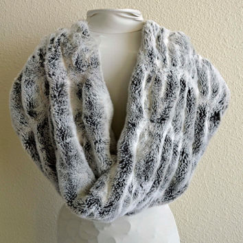 Faux Fur Scarf, Chinchilla Scarf,  Neck Warmer, Neck Piece, Circle Scarf, Ready to Ship!