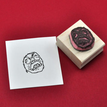 FFFFFUUUUU Face Rubber Stamp, Hand carved Stamp
