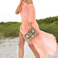 Fringed Cotton Bikini Cover Up 10351