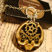 Clockwork Mermaid Necklace - Gears and Watch Hands with Mermaids Steampunk Necklace (1717)
