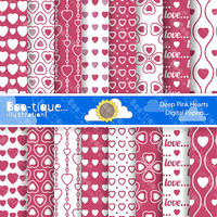 Love Heart Digital Scrapbooking Papers for Instant Download. Pink Hearts Scrapbooking Papers. Love Digital Paper. Valentines Scrapbook Paper
