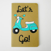 Customized Hand Painted Notebook, Moleskine journal, sketchbook, Retro Vespa scooter art