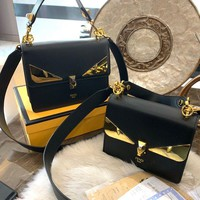 FENDI KAN I Black leather shoulder bag