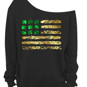 St PATRICKS DAY SHIRT - IRISh American - Irish Shirt - Ladies Sweatshirt - Shamrock - American Flag - Green & Gold Foil - In Black - s-3x