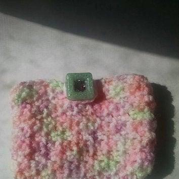 Sugar Plum Candy Crocheted Variegated Pink Mint Green White Credit Card Money Pouch with Easy Closure Grandma Teen Friend Gift for Her
