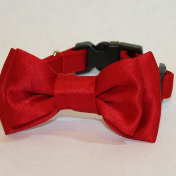RockinDogs Satin Collar with Double Bow Tie Dog or Cat Collar to match your Wedding Colors.