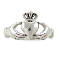Irish Friendship & Love Celtic Claddagh Band Ring in Sterling Silver, Size 7, #2601