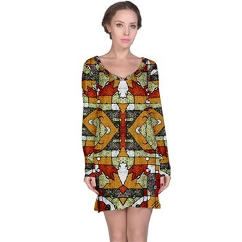 1Multicolored Abstract Tribal Print Long Sleeve Nightdress