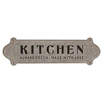 Made with Love Distressed Metal Kitchen Sign