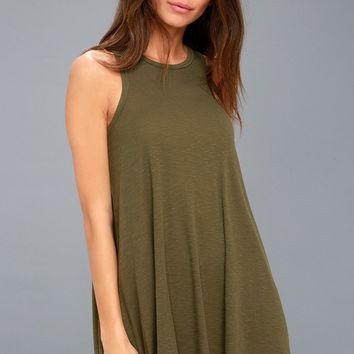 LA Nite Olive Green Sleeveless Mini Dress