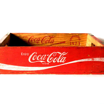 1973 vintage Coca Cola wooden crate with NO SLATS - primitive, rustic, shabby chic - antique red wooden soda crate - vintage advertising