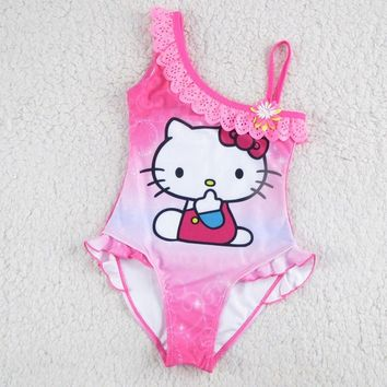 New Hello Kitty Girl's Swimsuit For Children Swimwear One Piece Swimming Suit Kids Brand Clothes Summer Beach Wear SW903-CGR1