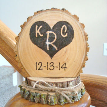 Wedding Cake Topper Rustic Wood Personalized Heart Initials and Date