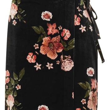 Floral Velvet Wrap Skirt - New In