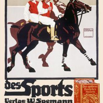 Golden Book of Sports Horse Polo by Ludwig Hohlwein Fine Art Print