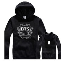 Fanstown BTS bangtan boy logo black hoodie cap sweater long sleeve J-HOPE Jinmin V Rap monster
